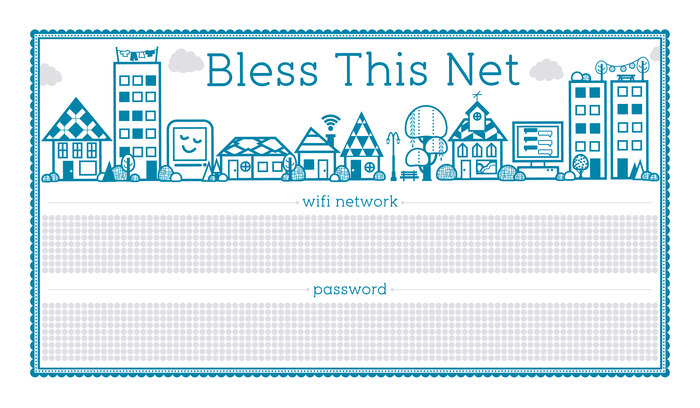Bless This Net Letterpress Print for Your WiFi Credentials