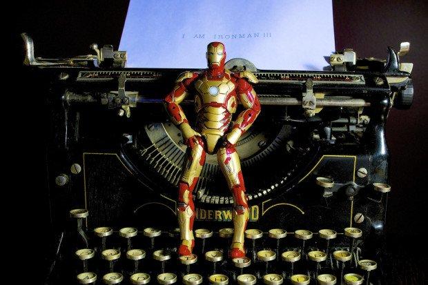 iron man blogger typewriter