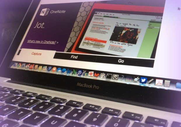 OneNote website displayed on a Macbook pro