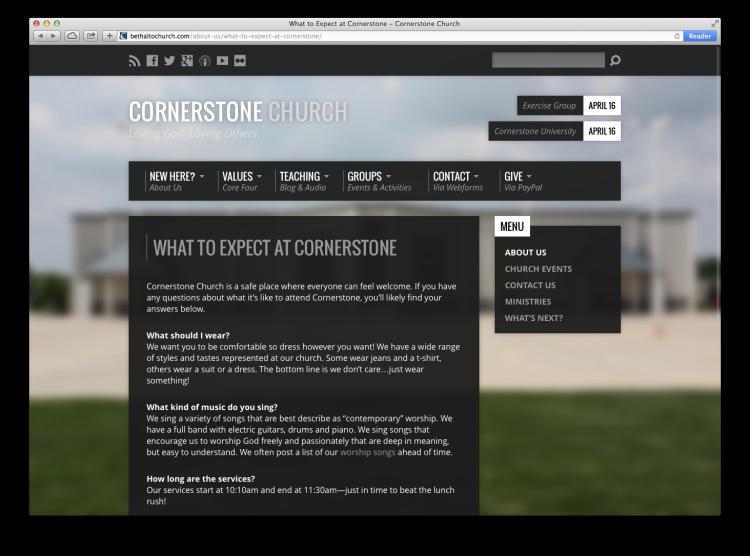 cornerstone website expect
