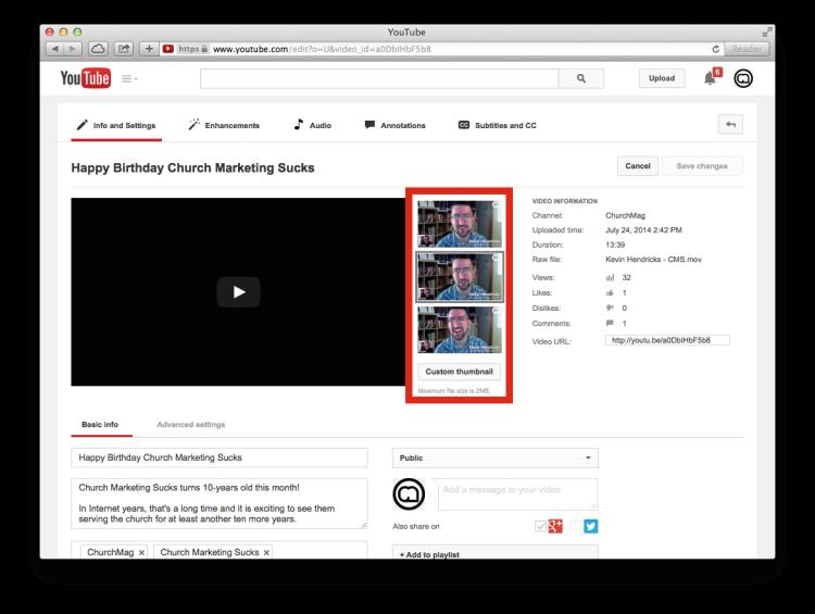 YouTube thumbnail options