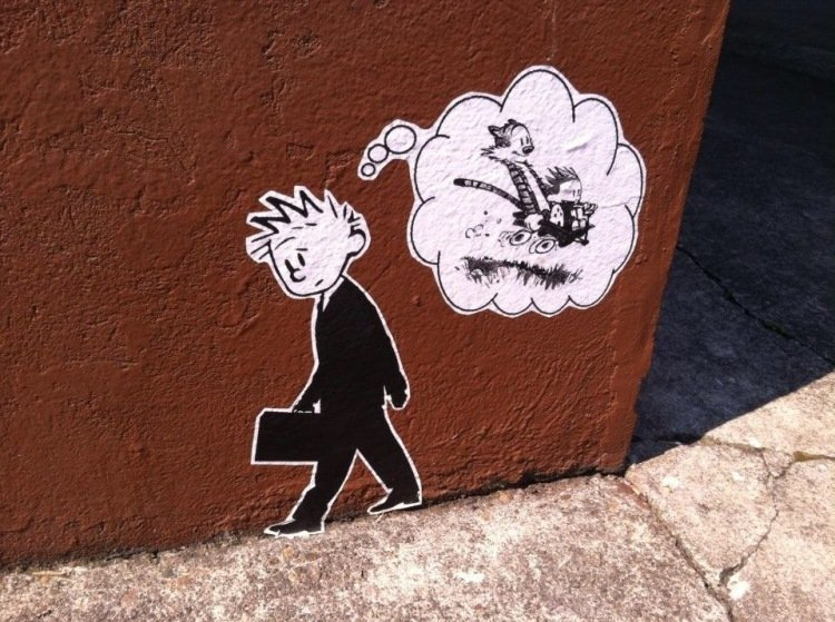 Calvin and Hobbes Street Art in Poland