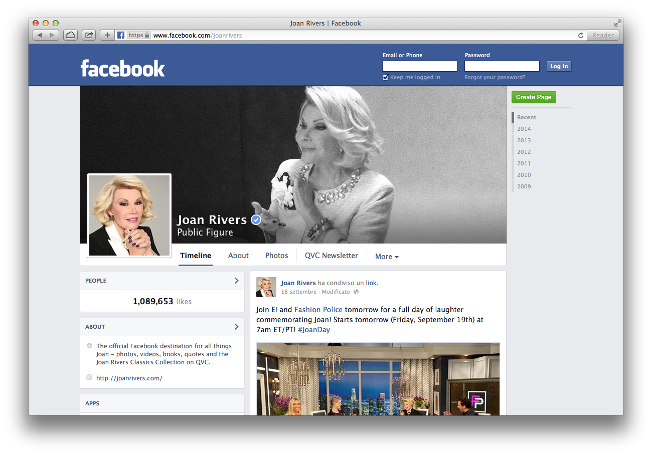 Joan Rivers Uses Facebook from the Dead?