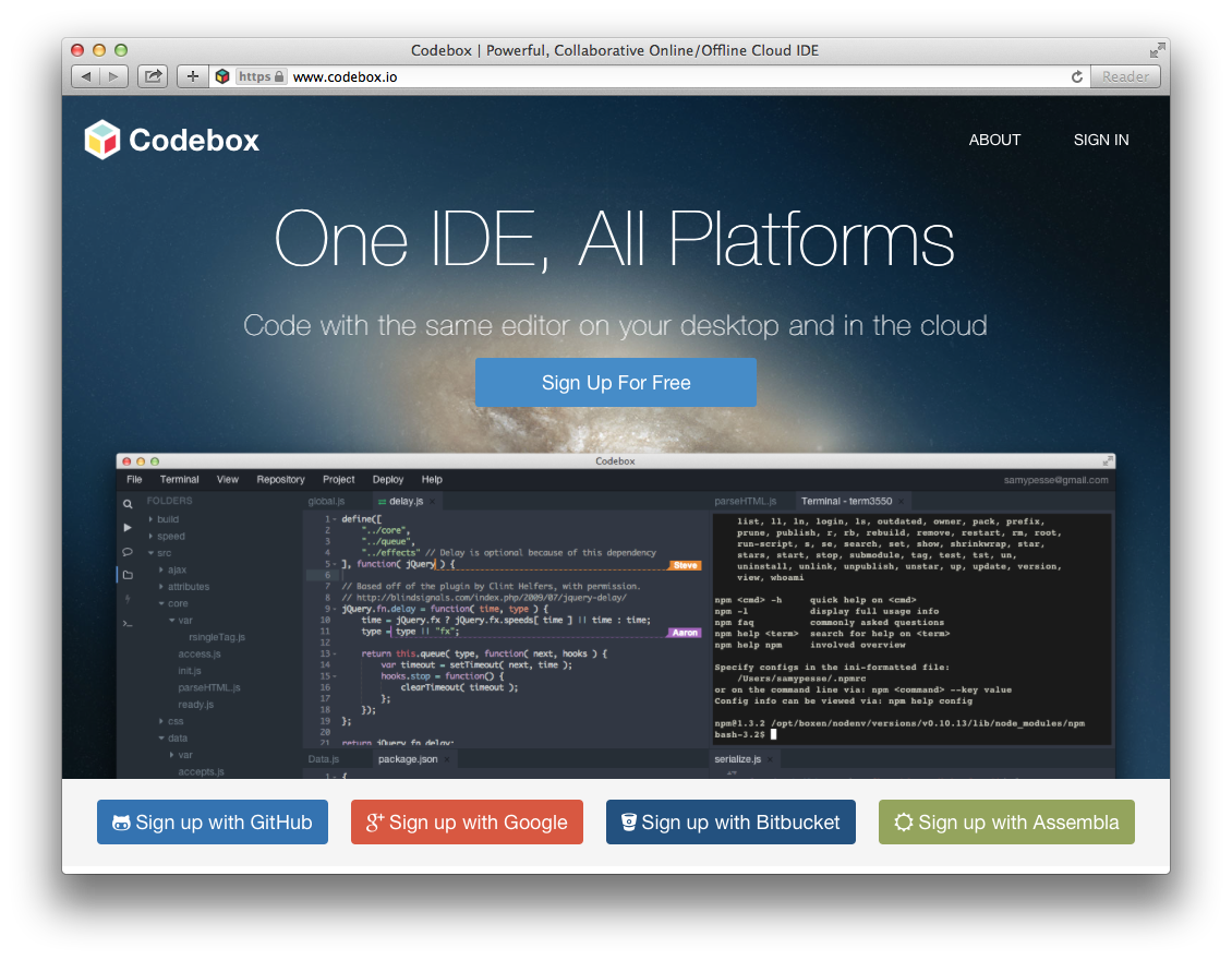 Codebox: One IDE for All Platforms