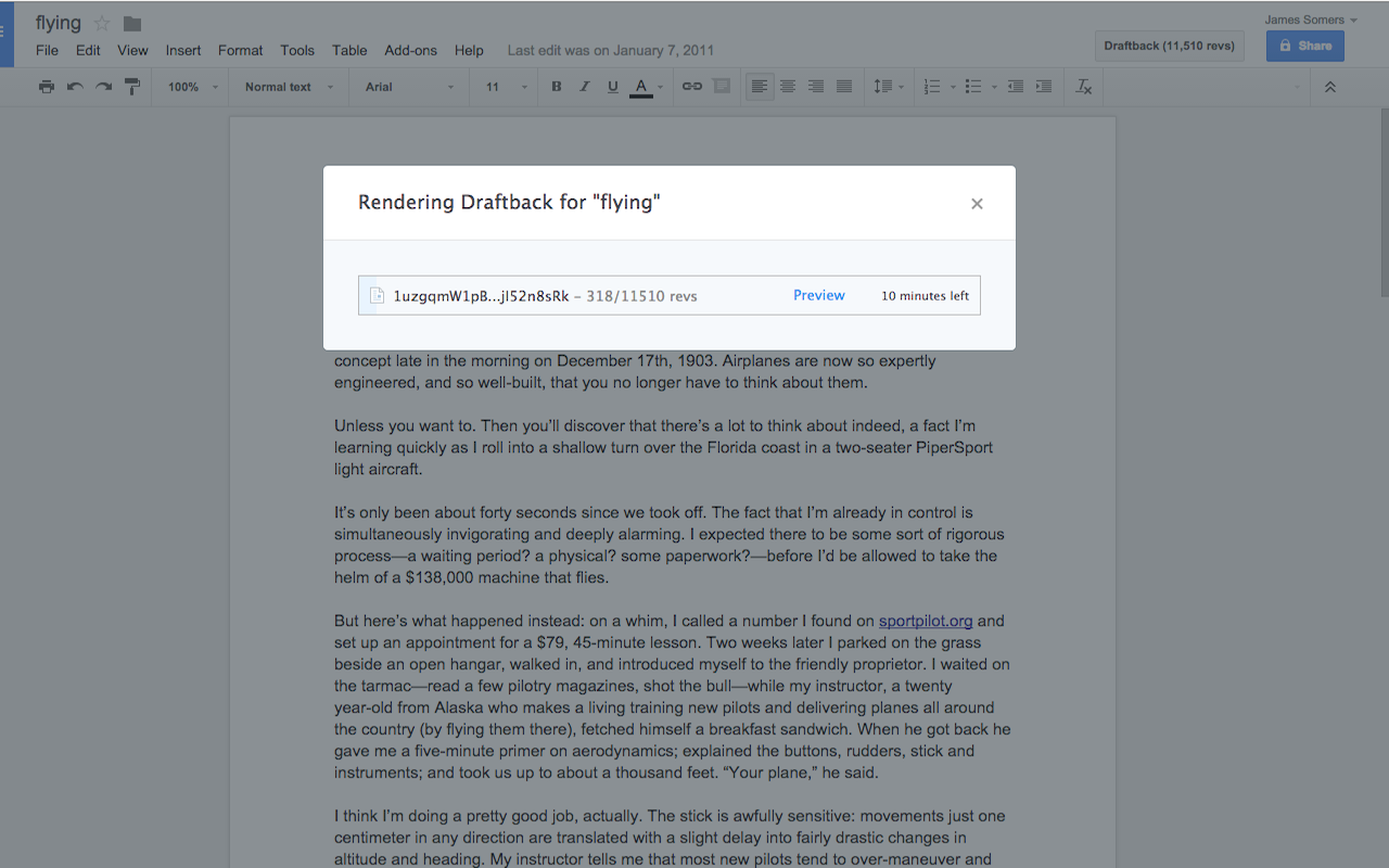 Draftback: Playback Your Google Doc Revision History