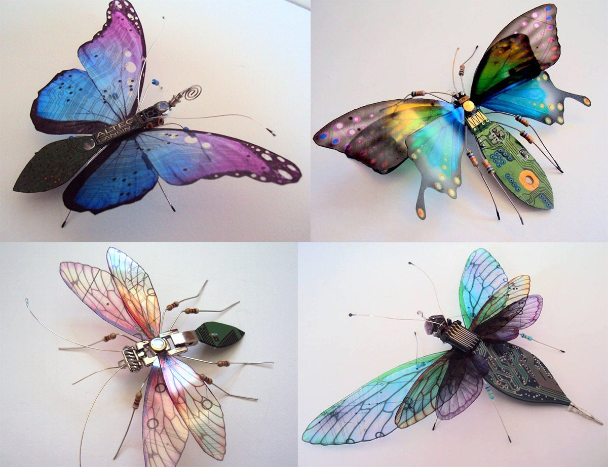 Winged Insects Created with Old Circuit Boards [Image]