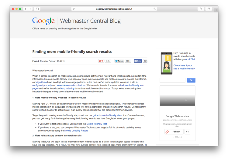 Google Blog Mobile-Friendly screen