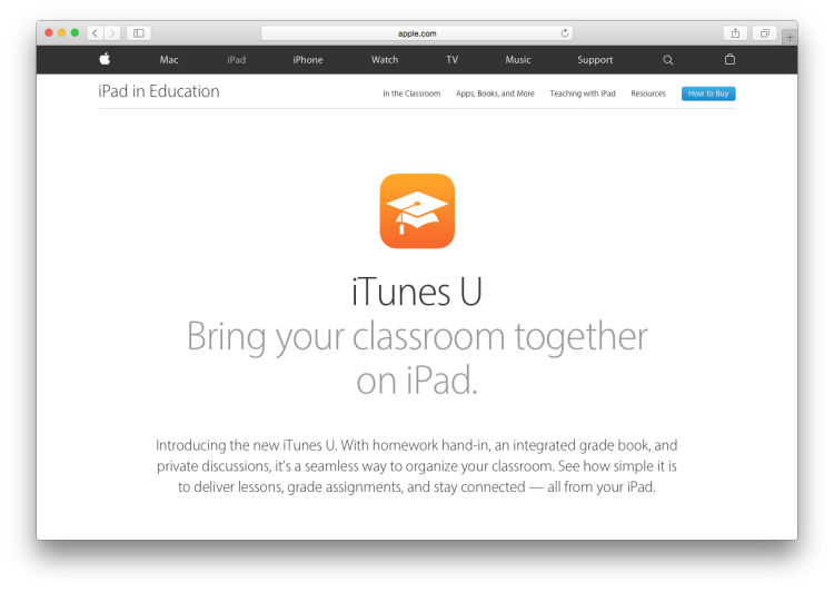 iTunes U Screenshot Webpage