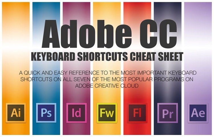 Adobe CC Keyboard Shortcuts Cheat Sheet