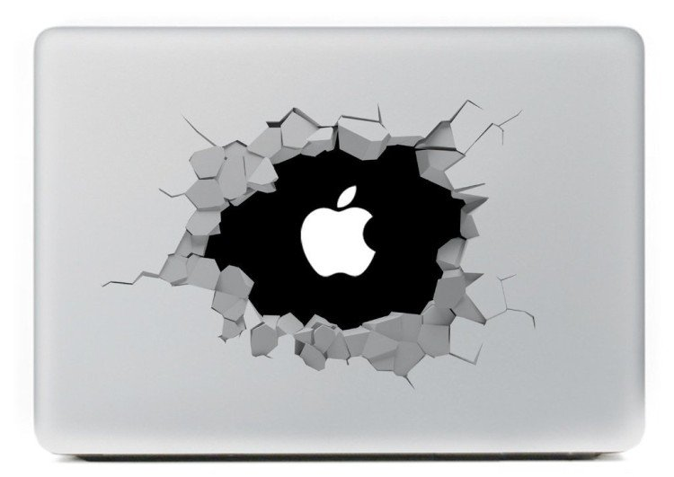 hole in wall macbook decal
