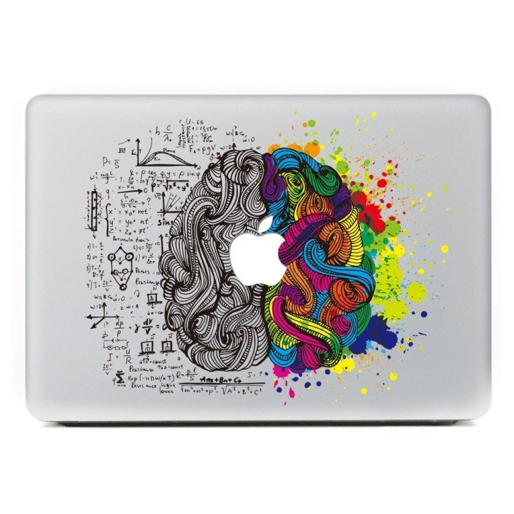 left brain right brain macbook decal