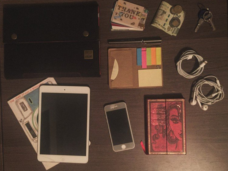 cards + cash + keys + post its + cables + notebook + phone + iPad + notebook