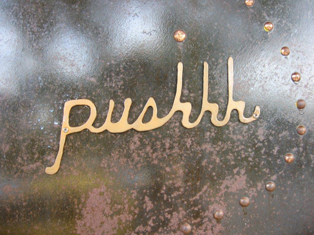creative push sign image