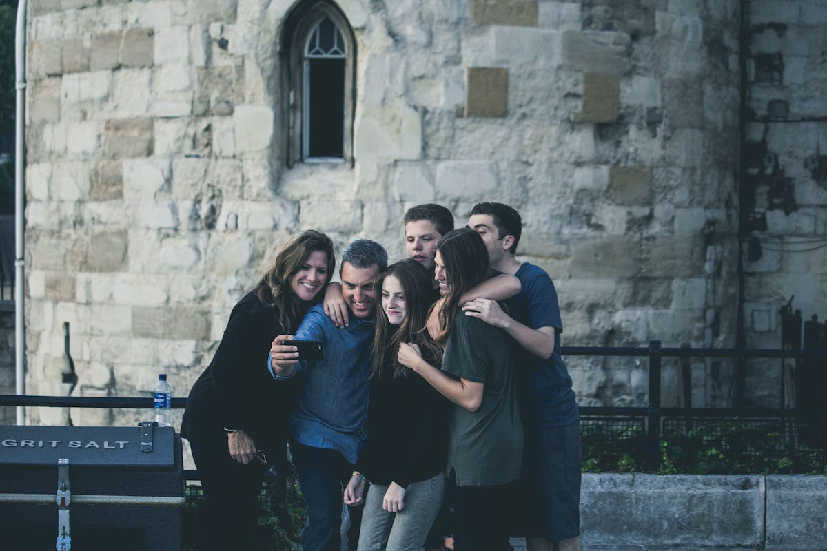 family taking selfie