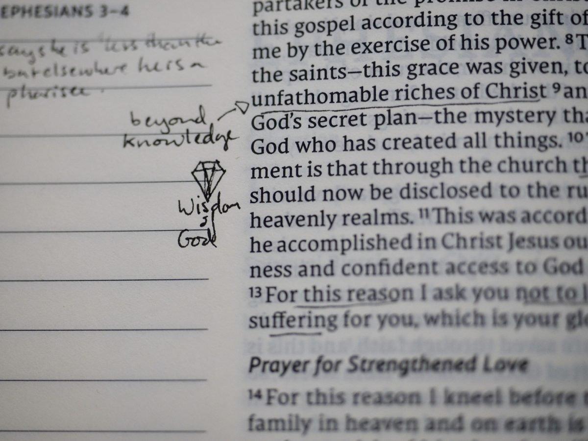 NET Journal Bible with writing in margin.