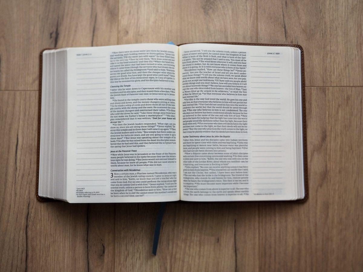 NET Journal Bible open on John 3